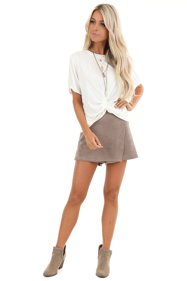 Coconut White Short Sleeve Top with Twist Front Detail front full body
