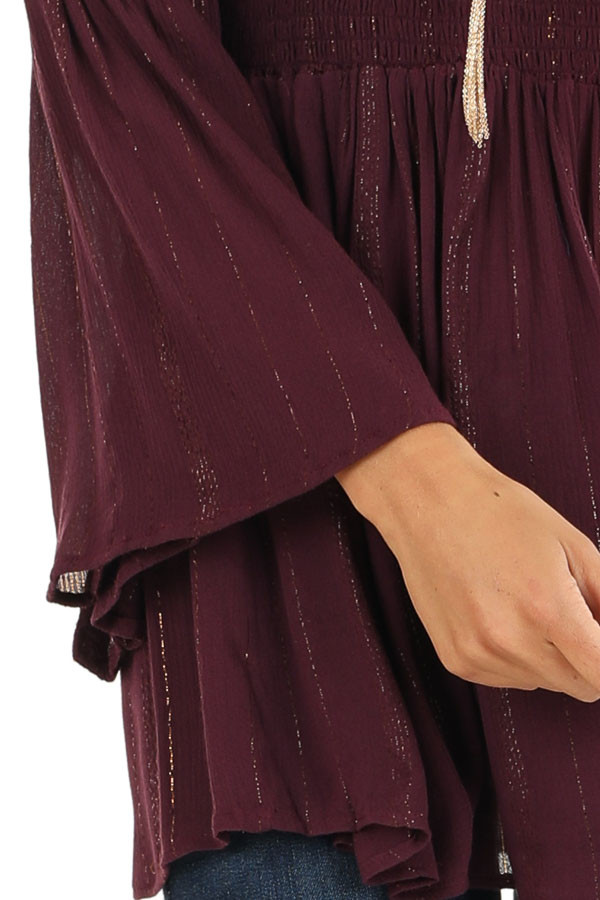 Burgundy Smocked Off the Shoulder Top with Gold Threads detail