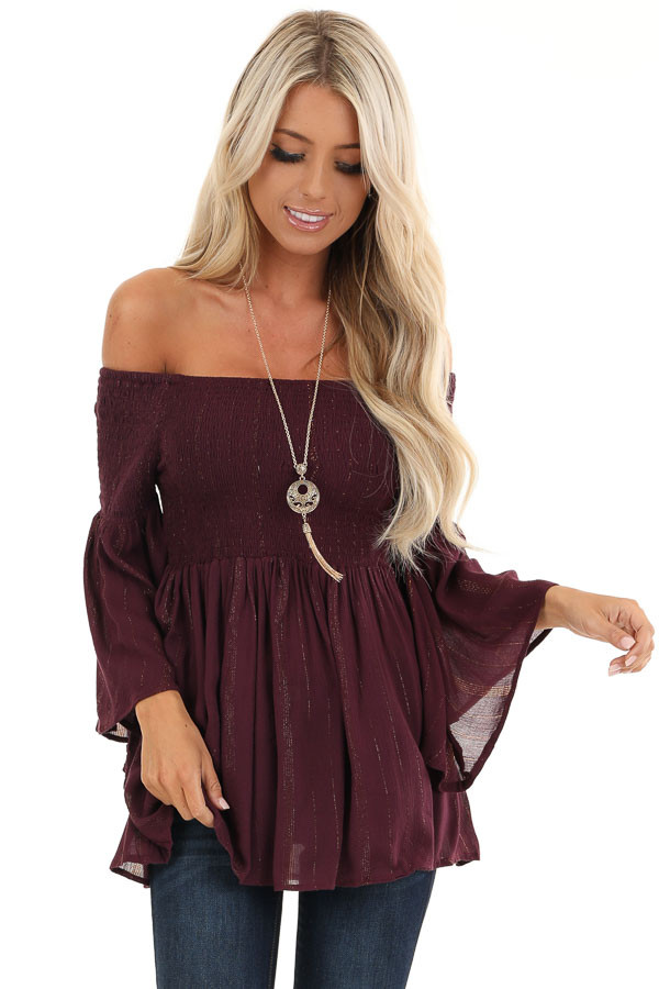 Burgundy Smocked Off the Shoulder Top with Gold Threads front close up
