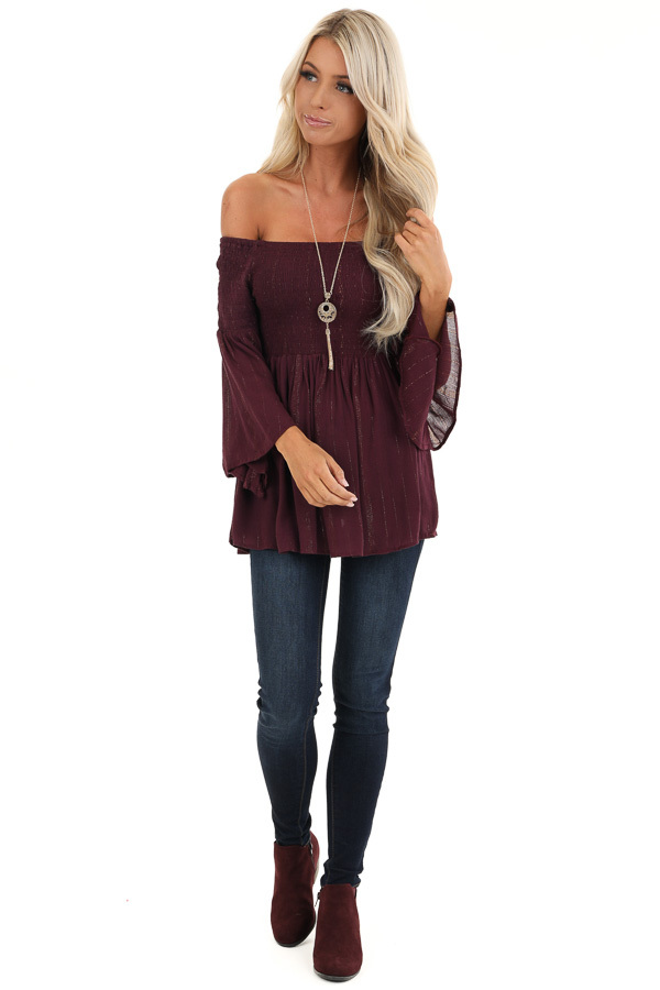 Burgundy Smocked Off the Shoulder Top with Gold Threads front full body