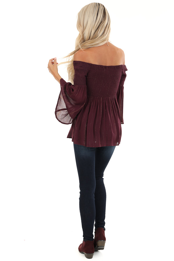 Burgundy Smocked Off the Shoulder Top with Gold Threads back full body