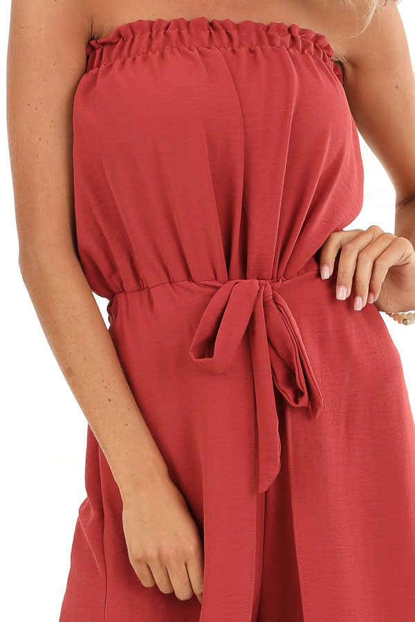 Brick Red Sleeveless Jumpsuit with Front Tie and Layering detail
