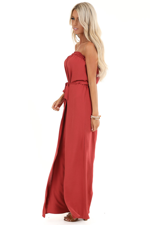 Brick Red Sleeveless Jumpsuit with Front Tie and Layering side full body