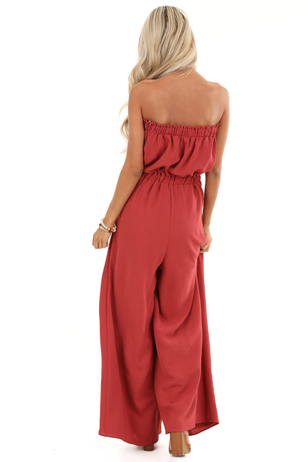 Brick Red Sleeveless Jumpsuit with Front Tie and Layering back full body