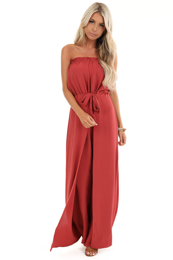 Brick Red Sleeveless Jumpsuit with Front Tie and Layering front full body