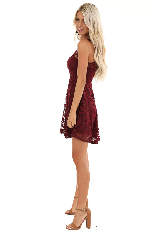 Wine Sleeveless Short Dress with Lace Details side full body