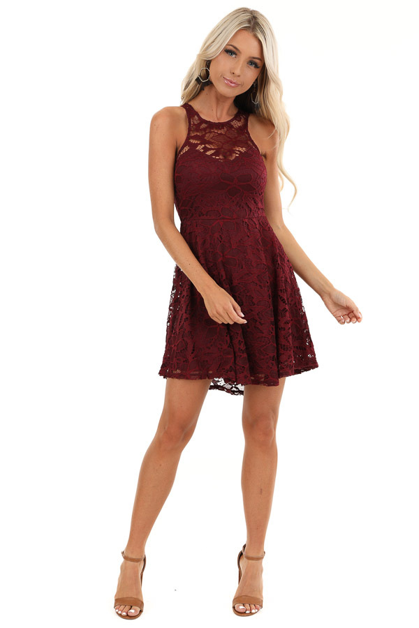 Wine Sleeveless Short Dress with Lace Details front full body