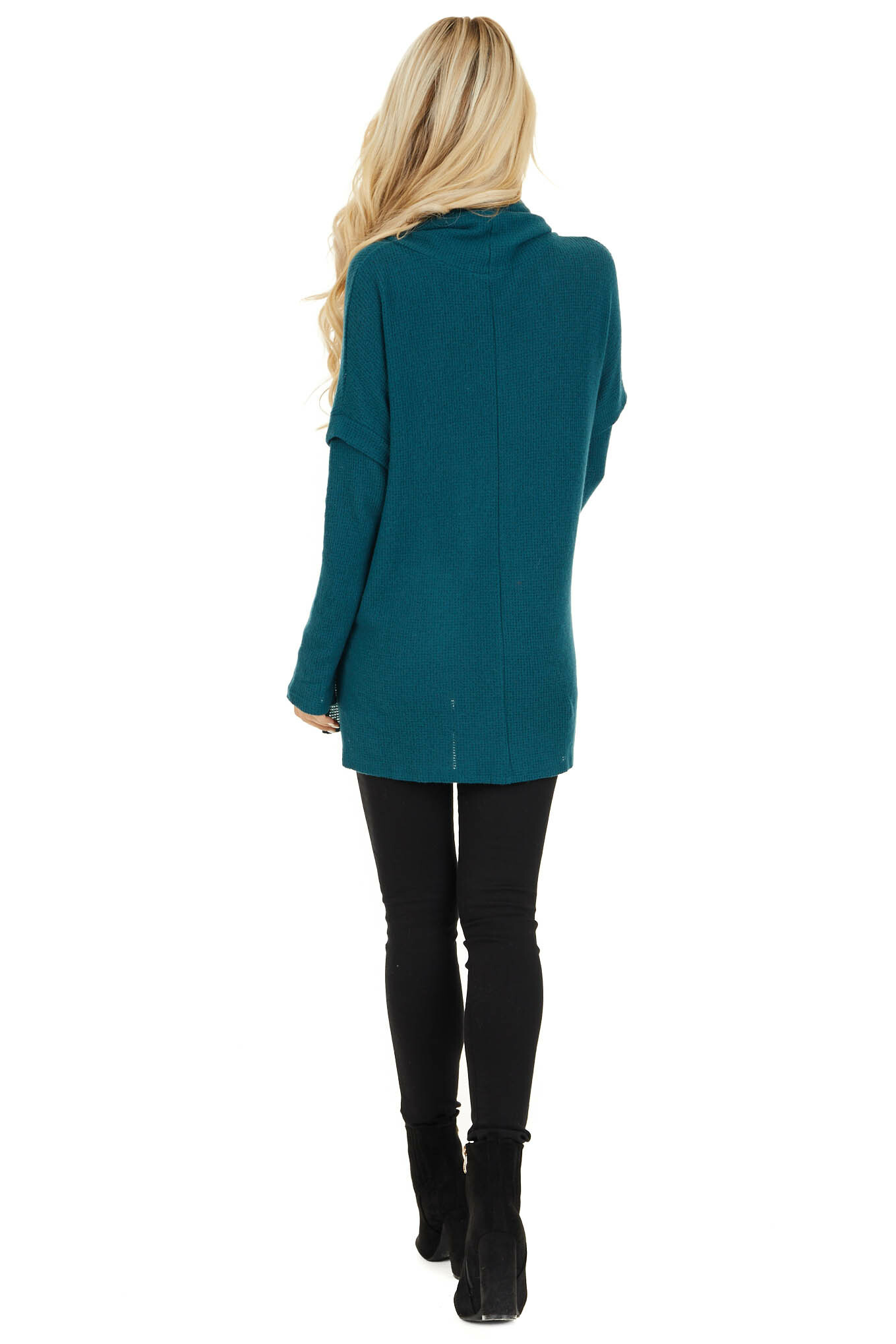 Dark Teal Waffle Knit Cowl Neck Top with Drawstrings back full body