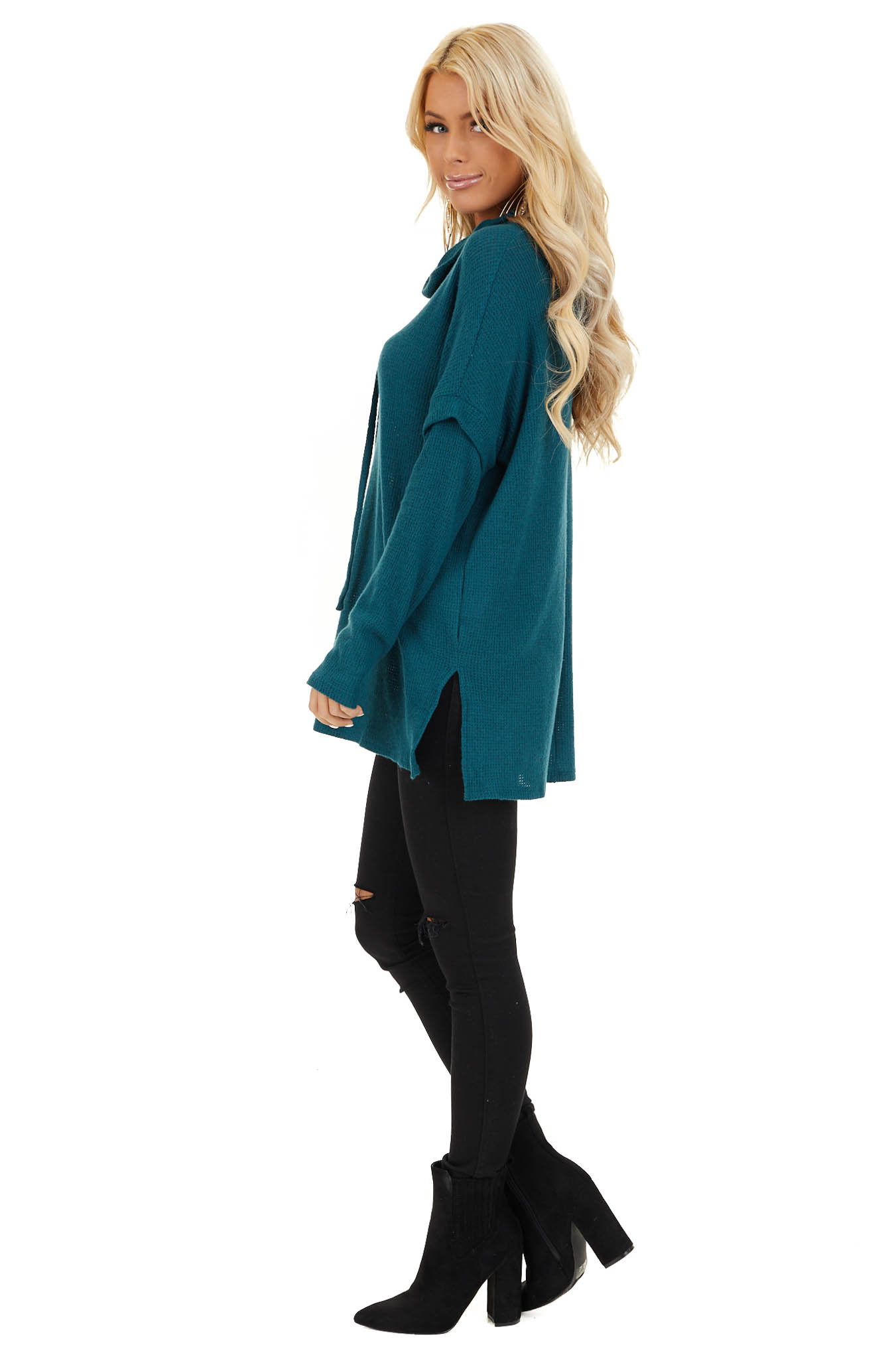 Dark Teal Waffle Knit Cowl Neck Top with Drawstrings side full body