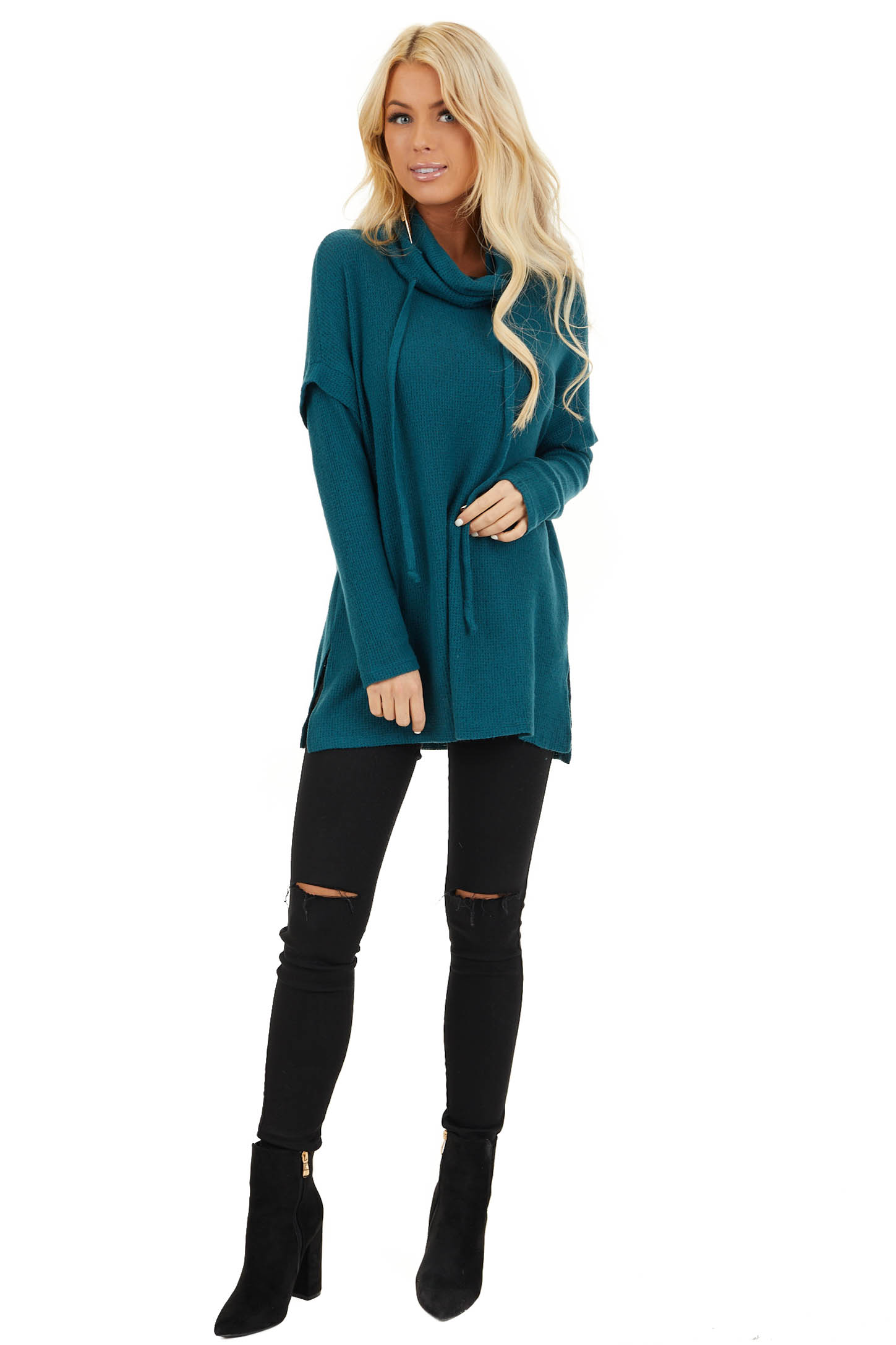Dark Teal Waffle Knit Cowl Neck Top with Drawstrings front full body
