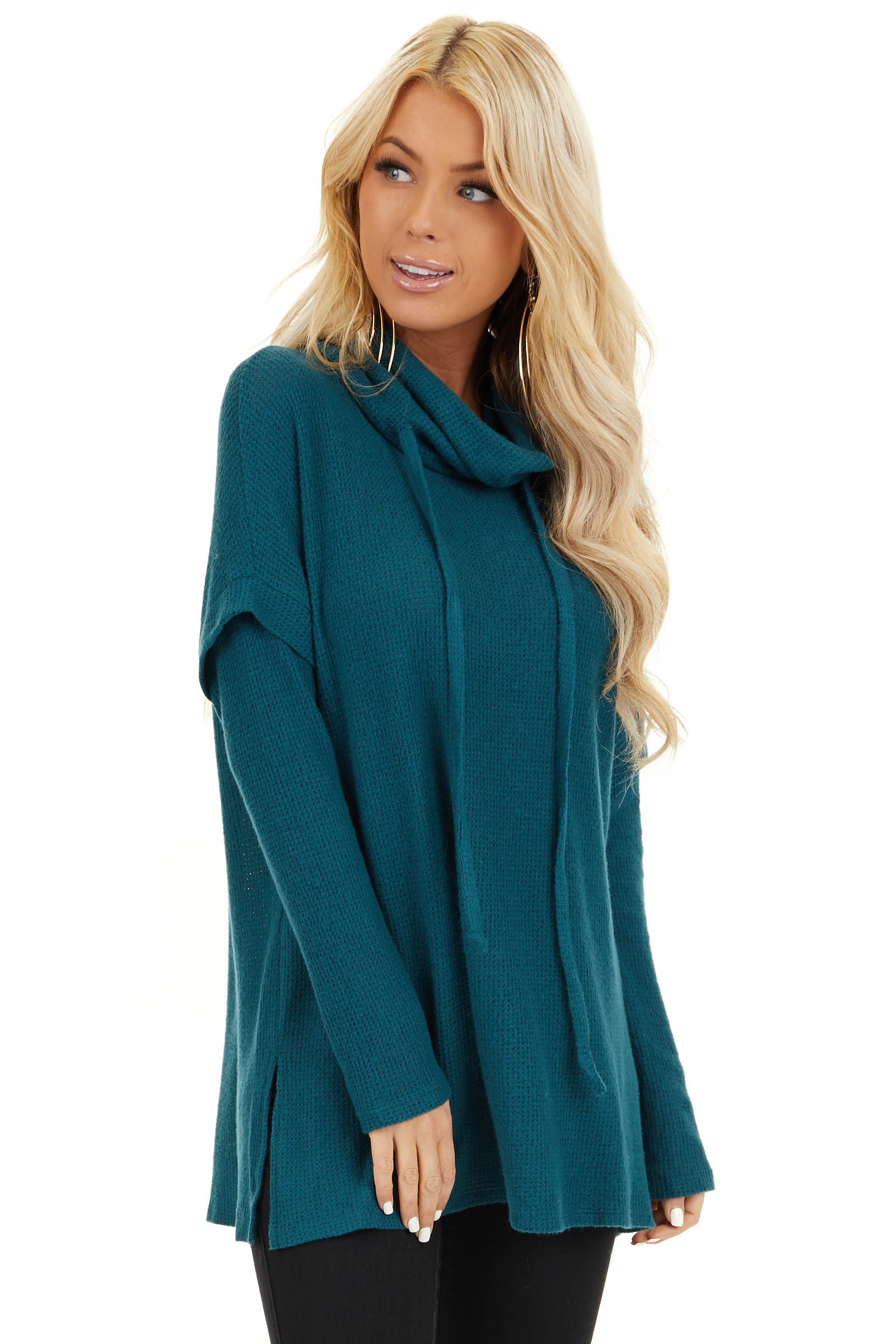 Dark Teal Waffle Knit Cowl Neck Top with Drawstrings front close up