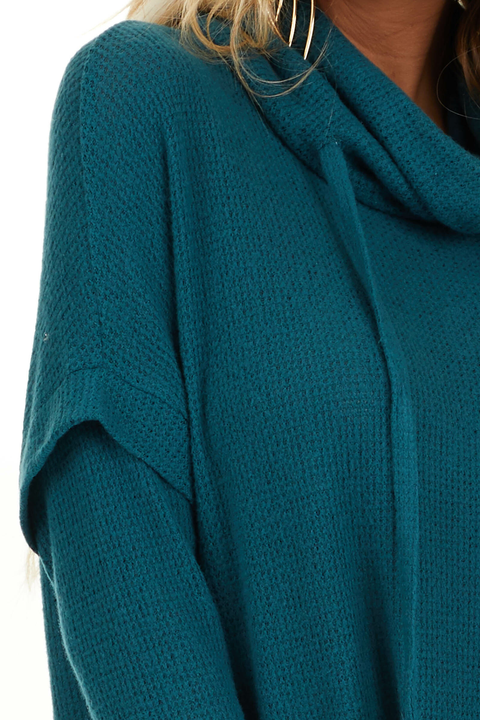 Dark Teal Waffle Knit Cowl Neck Top with Drawstrings detail