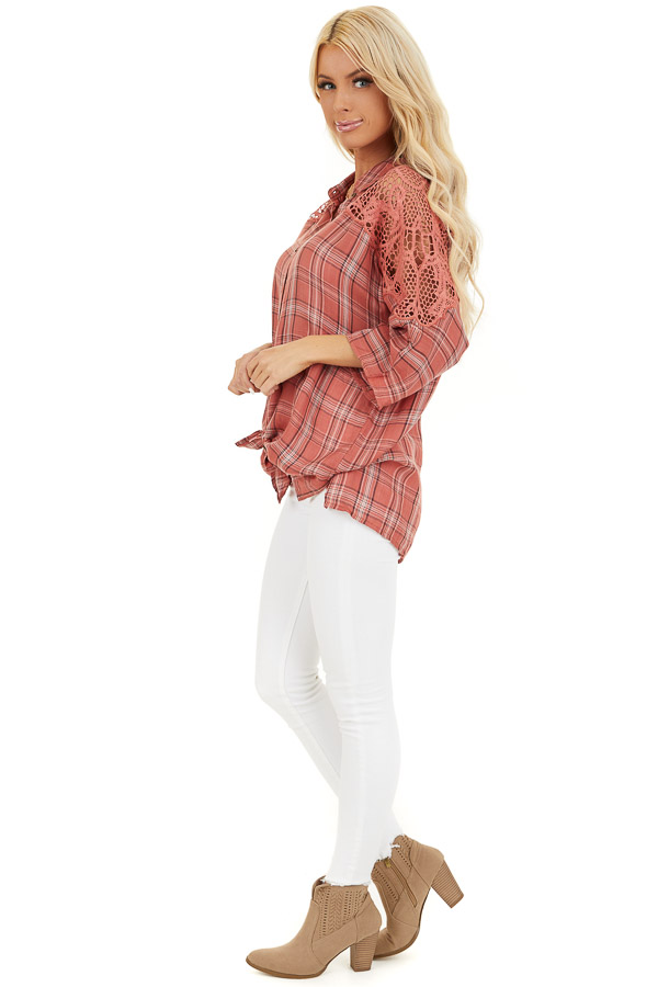 Rose Pink Plaid Button Up Top with Lace Shoulders side full body