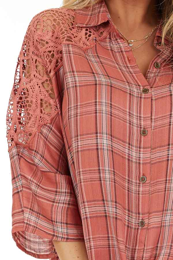 Rose Pink Plaid Button Up Top with Lace Shoulders detail