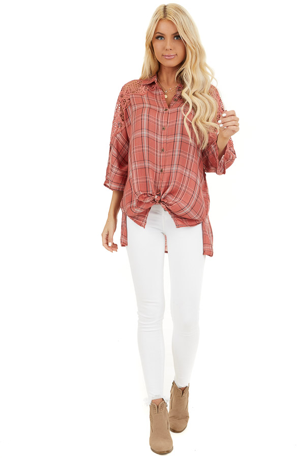 Rose Pink Plaid Button Up Top with Lace Shoulders front full body