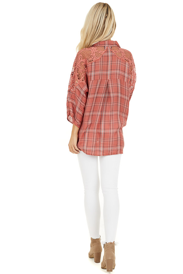 Rose Pink Plaid Button Up Top with Lace Shoulders back full body
