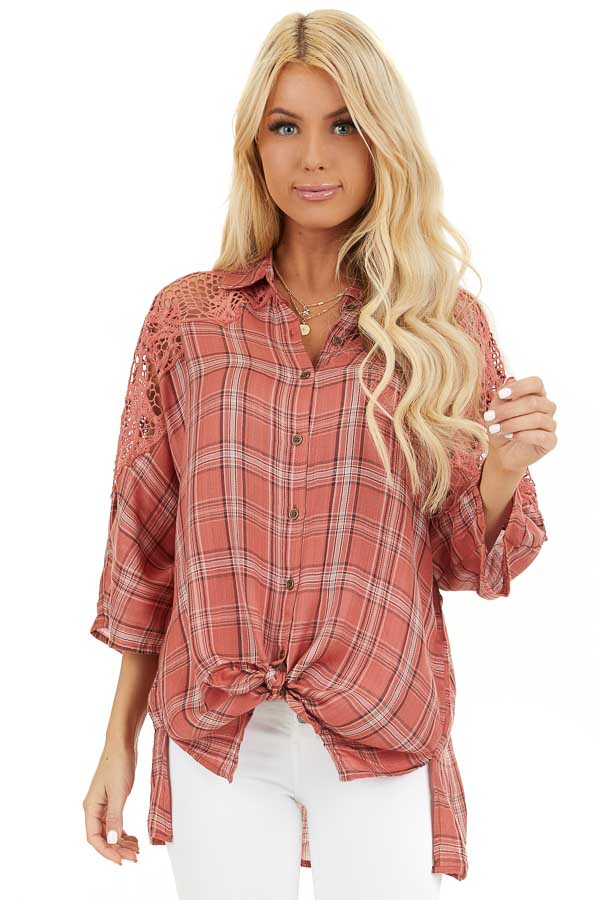 Rose Pink Plaid Button Up Top with Lace Shoulders front close up
