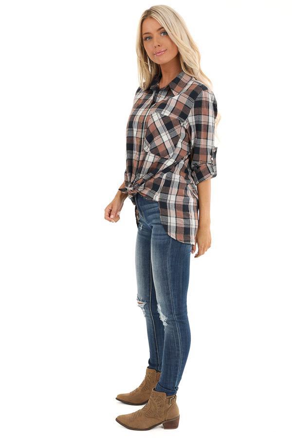Navy and Coco Plaid Print Button Up Top with Front Pocket side full body