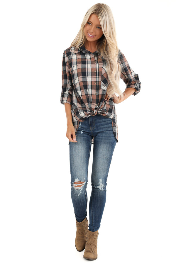Navy and Coco Plaid Print Button Up Top with Front Pocket front full body