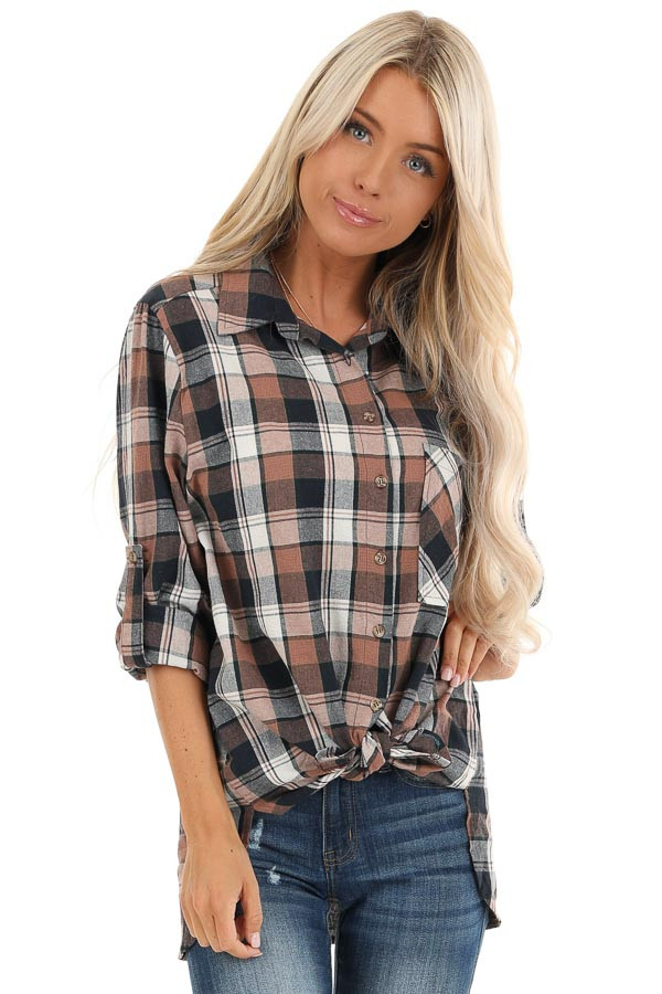 Navy and Coco Plaid Print Button Up Top with Front Pocket front close up