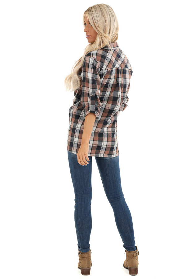 Navy and Coco Plaid Print Button Up Top with Front Pocket back full body