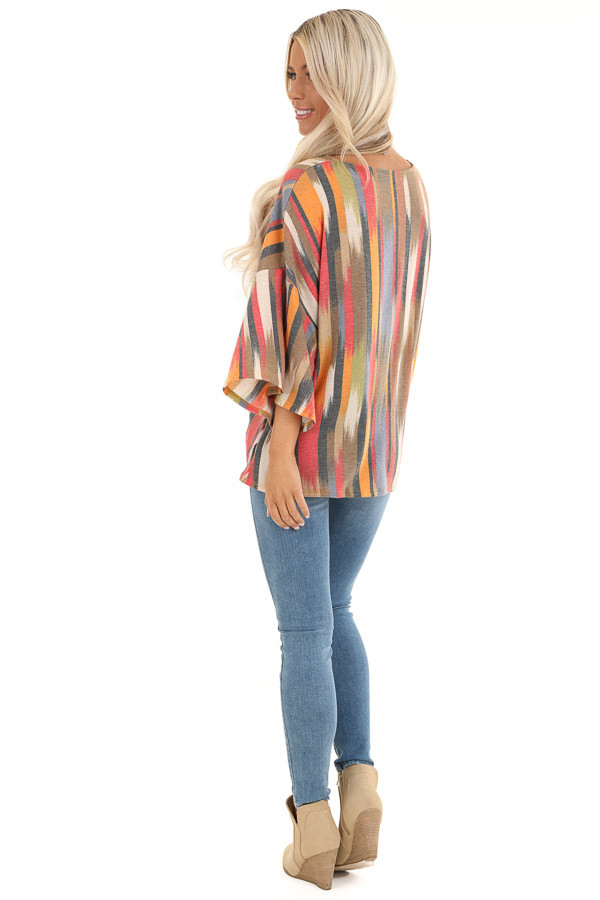 Multicolor Washed Top with Front Twist and Blended Stripes back full body