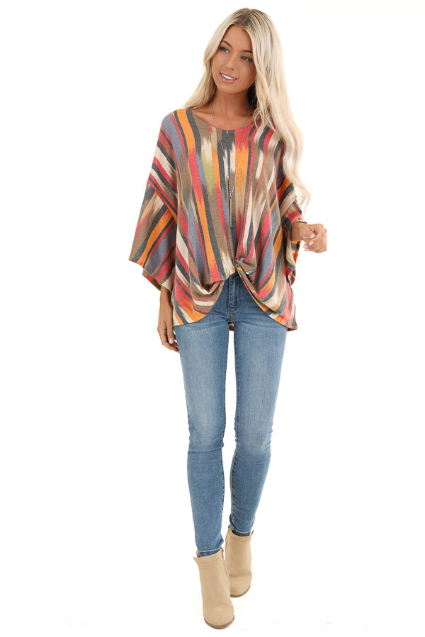 Multicolor Washed Top with Front Twist and Blended Stripes front full body