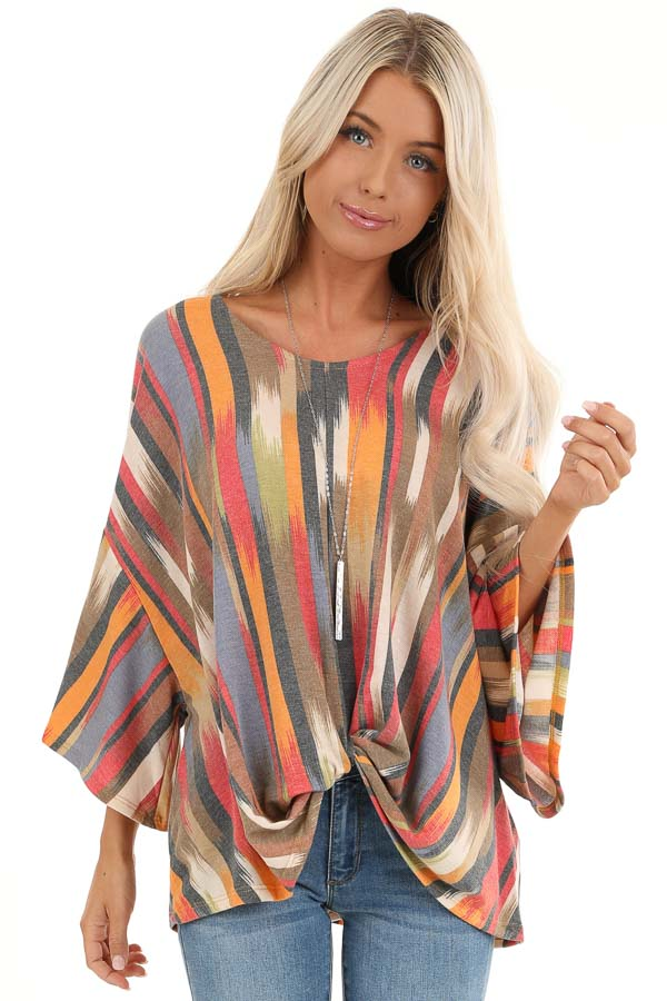 Multicolor Washed Top with Front Twist and Blended Stripes front close up