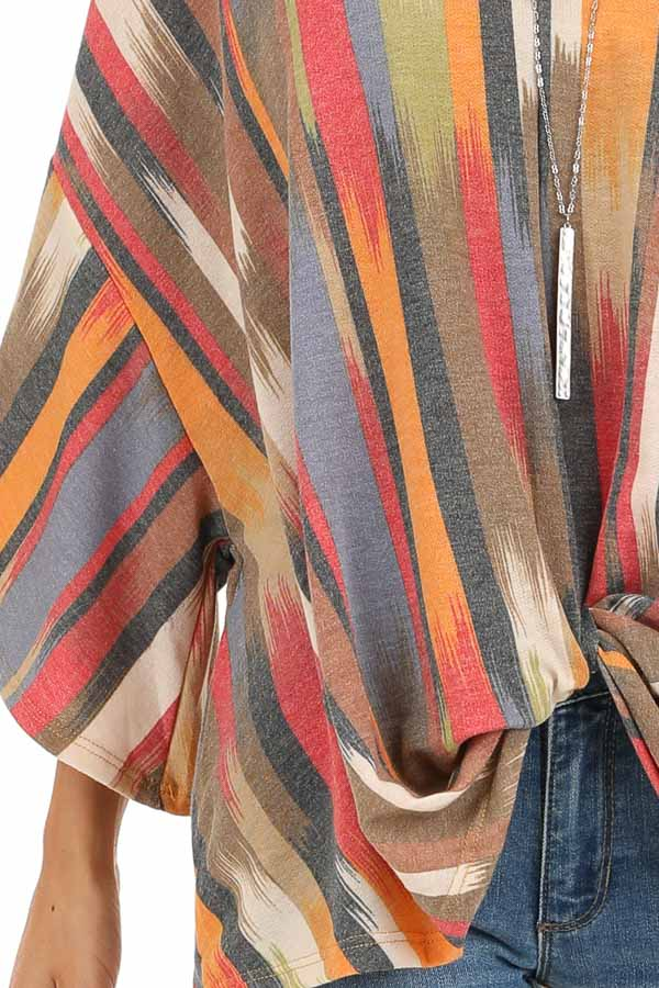 Multicolor Washed Top with Front Twist and Blended Stripes detail