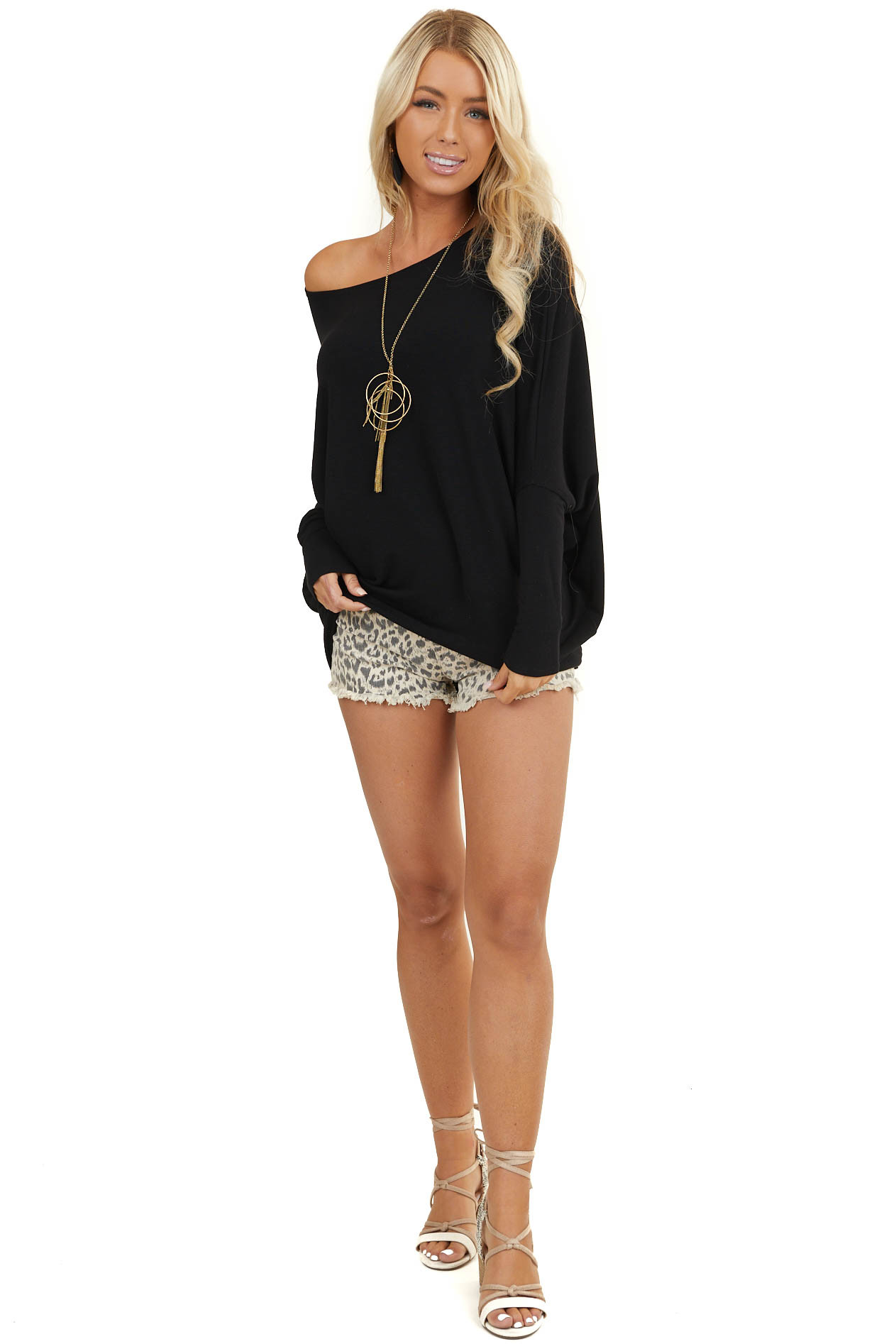 Midnight Black Round Neck Top with Long Dolman Sleeves