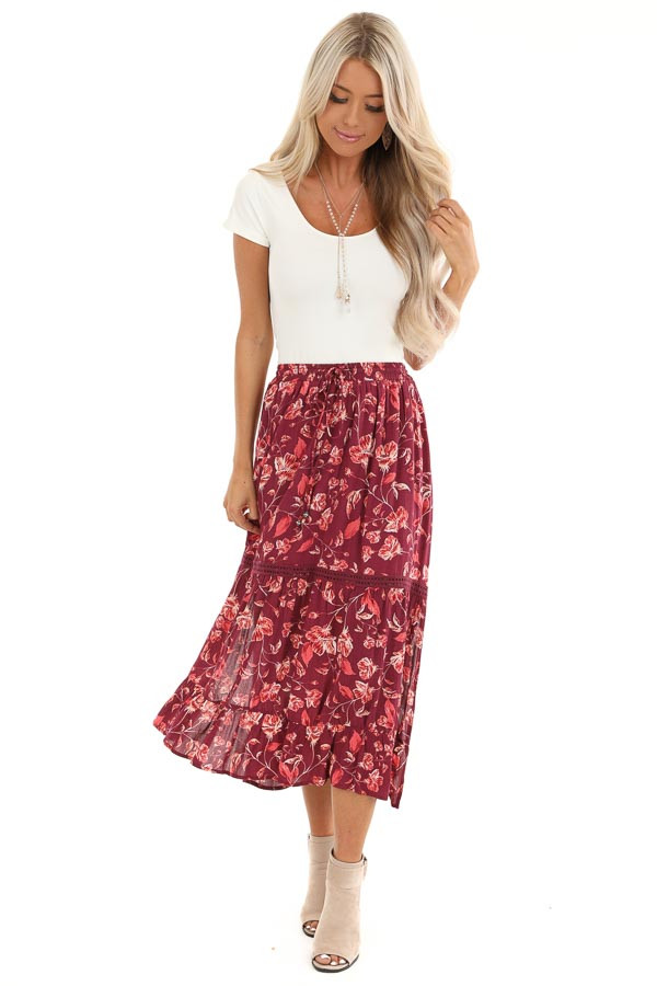 Burgundy Floral Midi Skirt with Adjustable Waist Tie Detail front full body