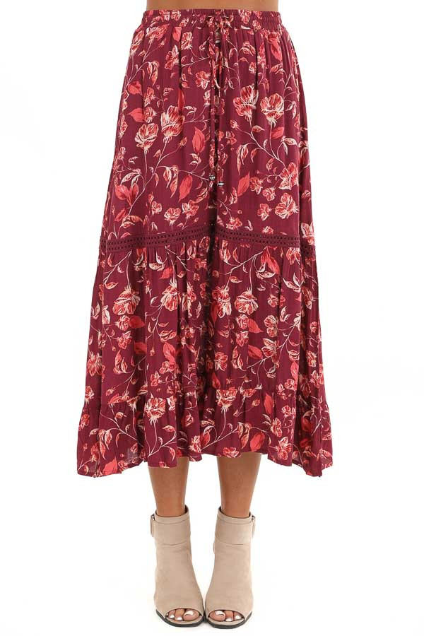 Burgundy Floral Midi Skirt with Adjustable Waist Tie Detail front view