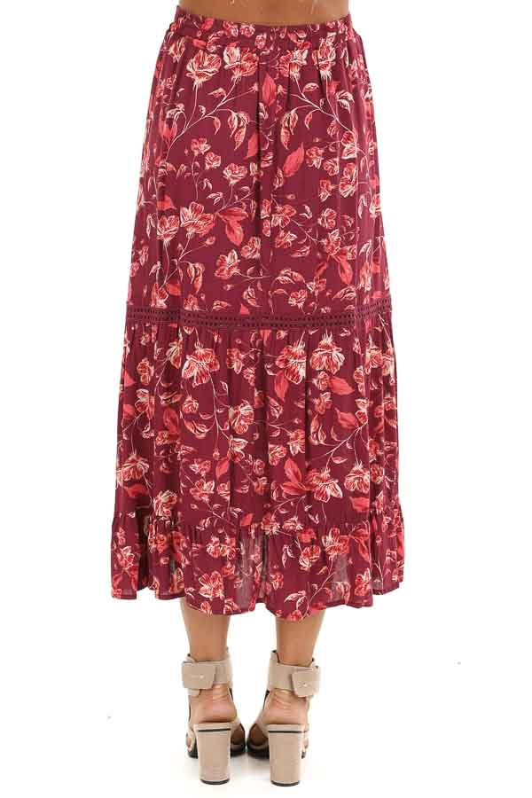 Burgundy Floral Midi Skirt with Adjustable Waist Tie Detail back view