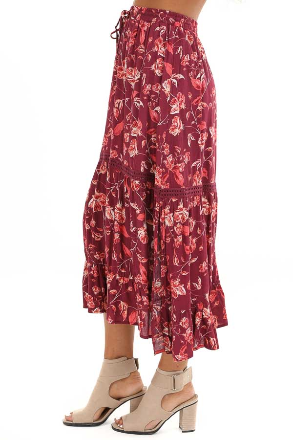Burgundy Floral Midi Skirt with Adjustable Waist Tie Detail side view
