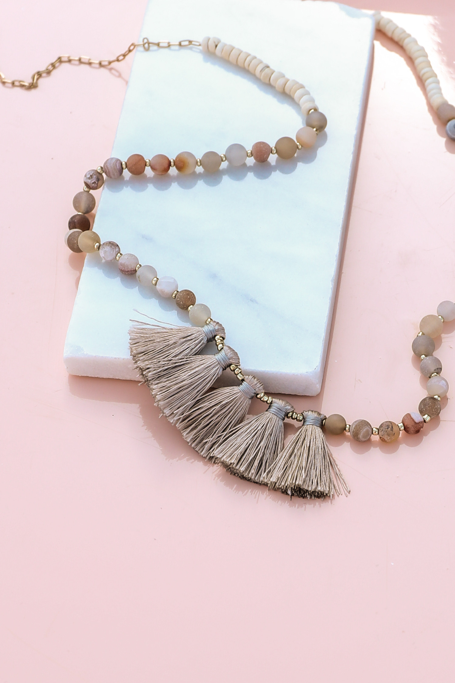 Earth Tone Beaded Necklace with Silver Tassel Details