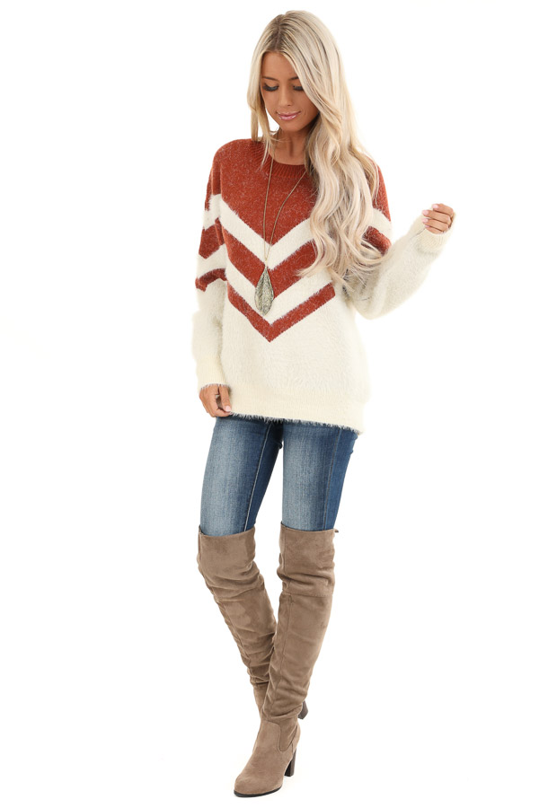 Rust and Ivory Chevron Striped Long Sleeve Sweater front full body