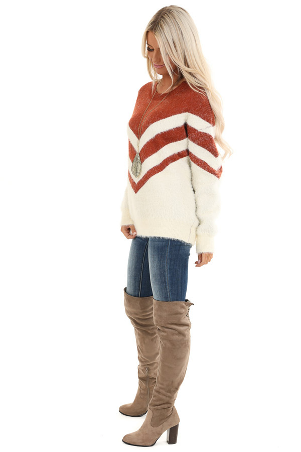 Rust and Ivory Chevron Striped Long Sleeve Sweater side full body