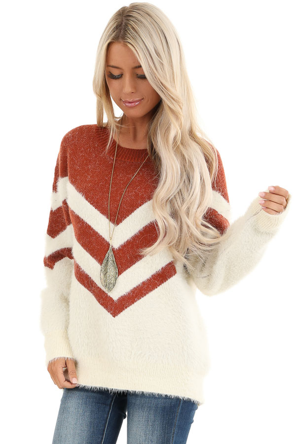 Rust and Ivory Chevron Striped Long Sleeve Sweater front close up