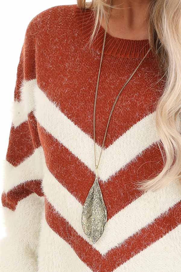Rust and Ivory Chevron Striped Long Sleeve Sweater detail
