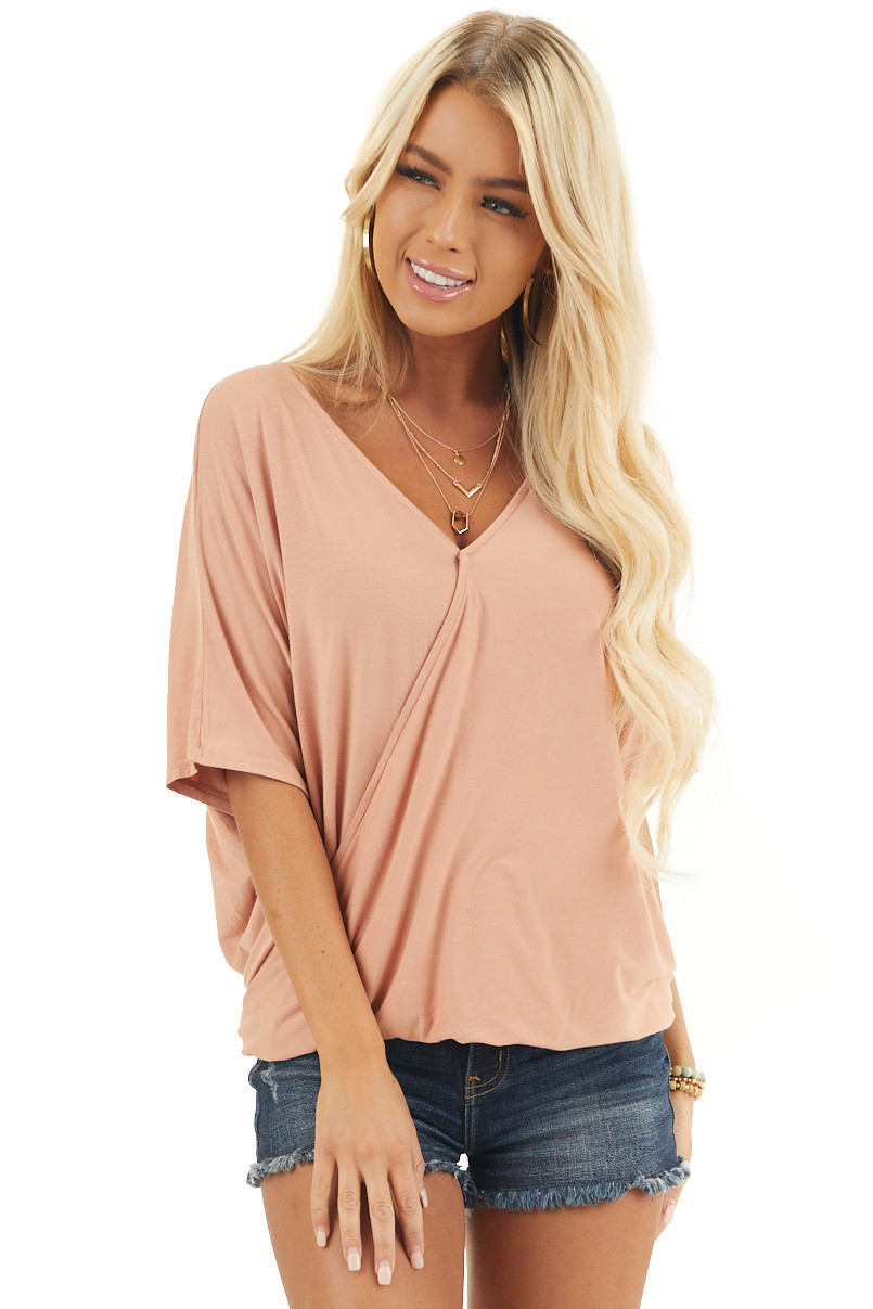 Dusty Peach Surplice Short Sleeve Top with Deep Open Back