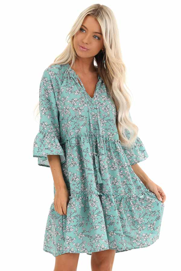 Dark Mint Green Floral Print Dress with Tassel Detail front close up
