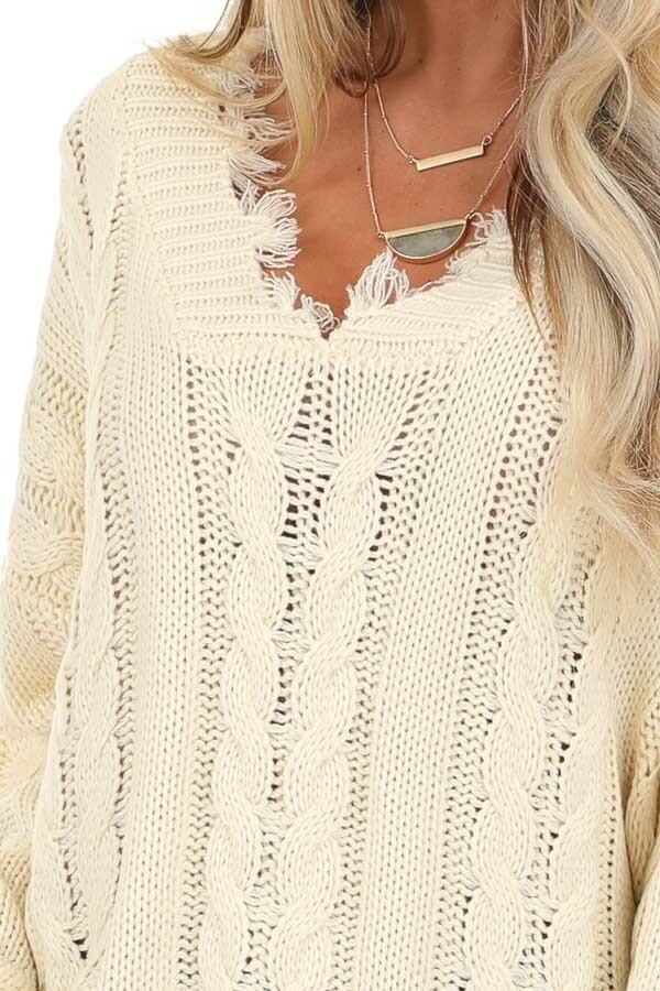 Cream Cable Knit Long Sleeve Sweater Top with Fringe Details detail
