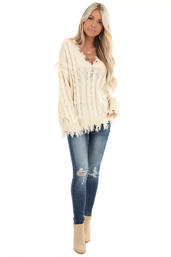 Cream Cable Knit Long Sleeve Sweater Top with Fringe Details front full body