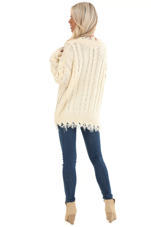 Cream Cable Knit Long Sleeve Sweater Top with Fringe Details back full body