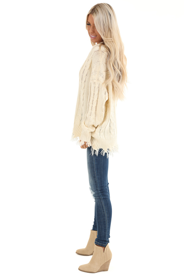 Cream Cable Knit Long Sleeve Sweater Top with Fringe Details side full body