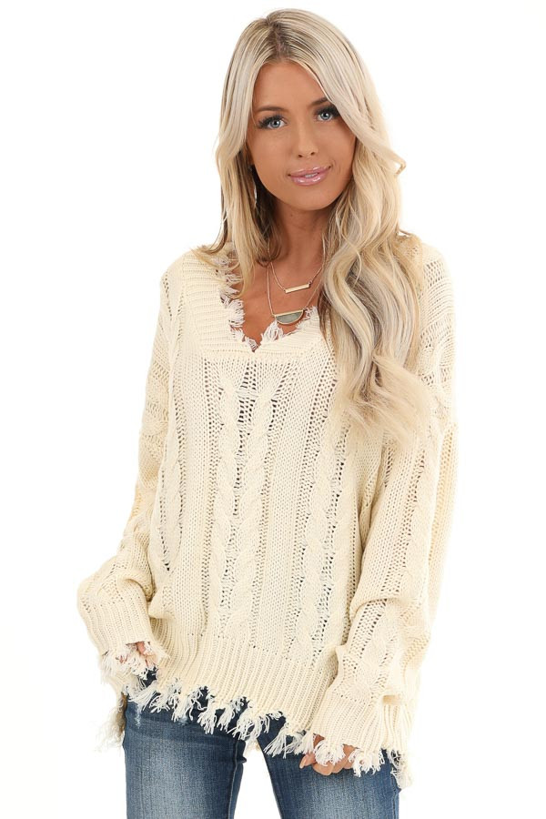 Cream Cable Knit Long Sleeve Sweater Top with Fringe Details front close up