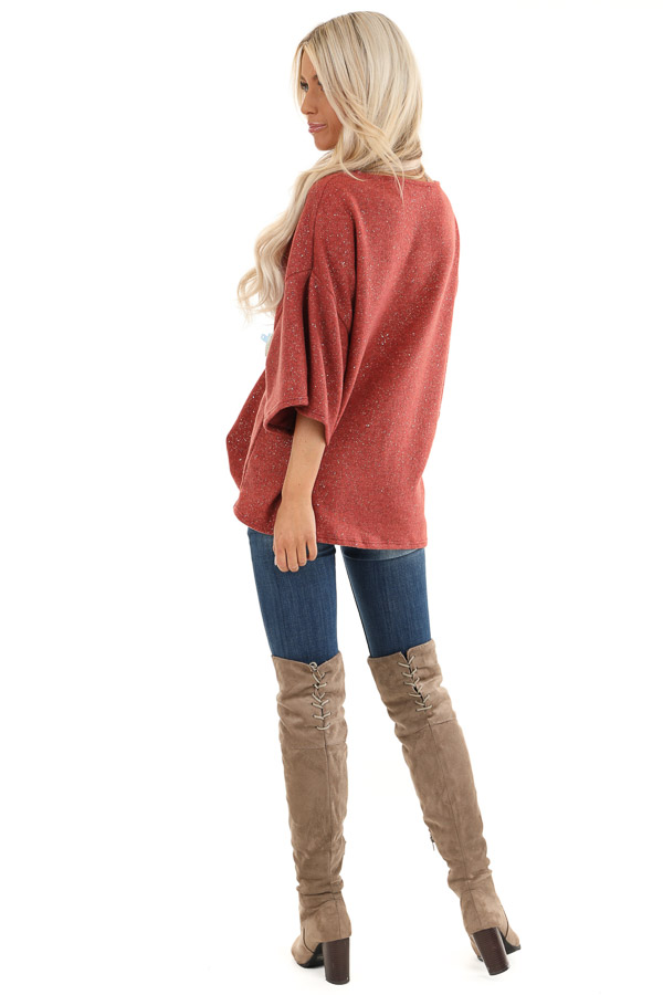Rust Sparkly Fleece 3/4 Sleeve Top with Knot Detail back full body