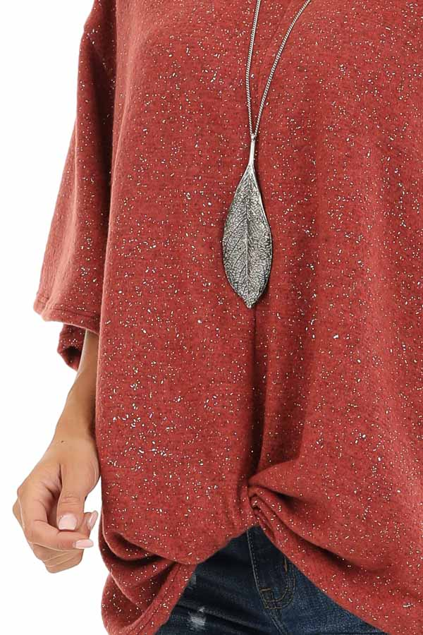 Rust Sparkly Fleece 3/4 Sleeve Top with Knot Detail detail