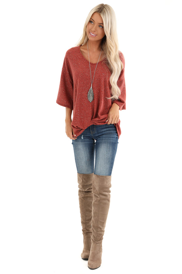 Rust Sparkly Fleece 3/4 Sleeve Top with Knot Detail front full body