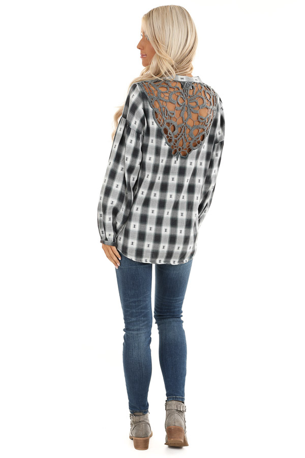 Charcoal Plaid Top with Sage Accents and Crochet Back Detail back full body